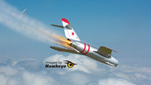 Mig 17 on fire and going down.